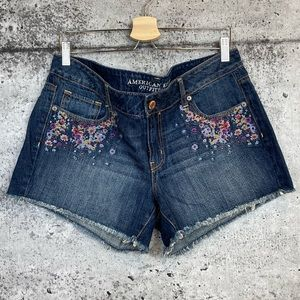 American Eagle |  Embroidered Denim Shorts